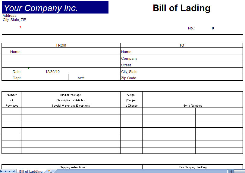 Bill Of Lading Template | Bill Of Lading Form