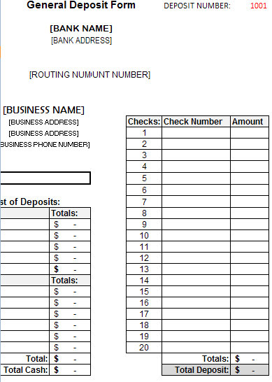 deposit form template