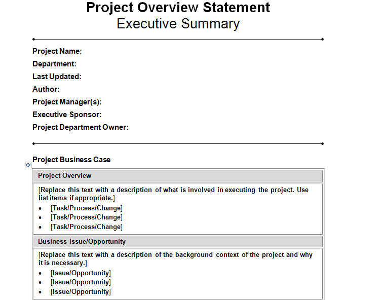 Project management templates project management help for Statement of works template