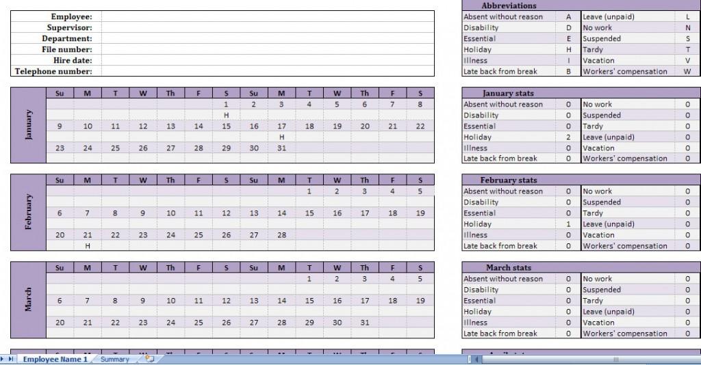 Employee Vacation Schedule Excel