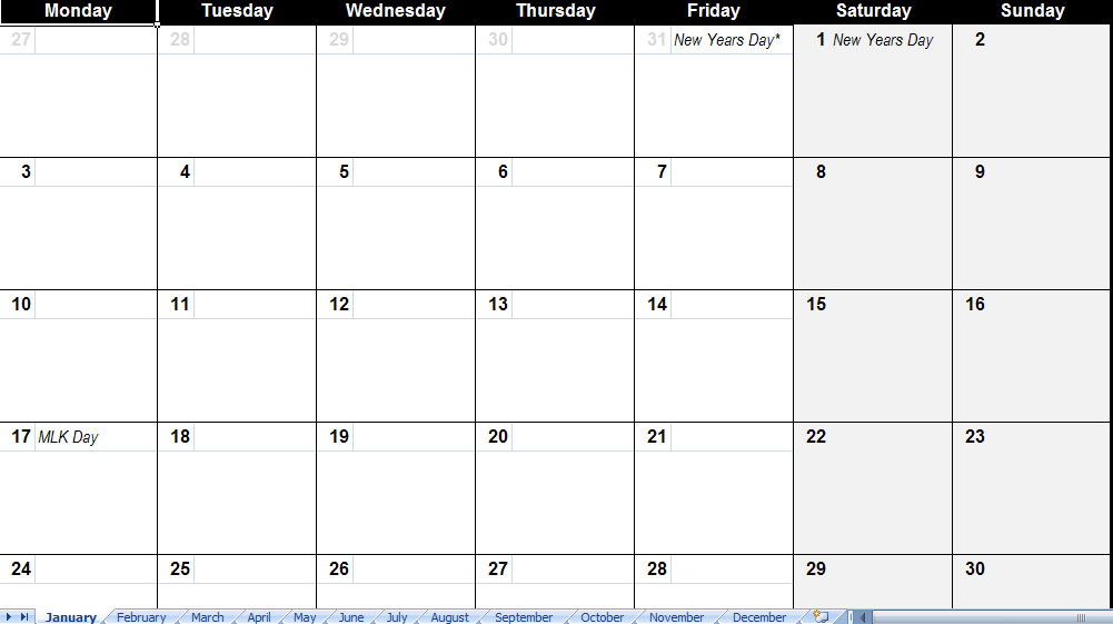 2011 Calendar Template With Holidays 2011 Calendar Template With