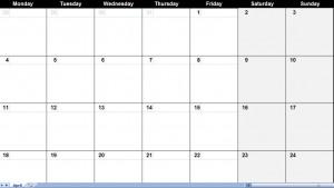 april 2011 calendar
