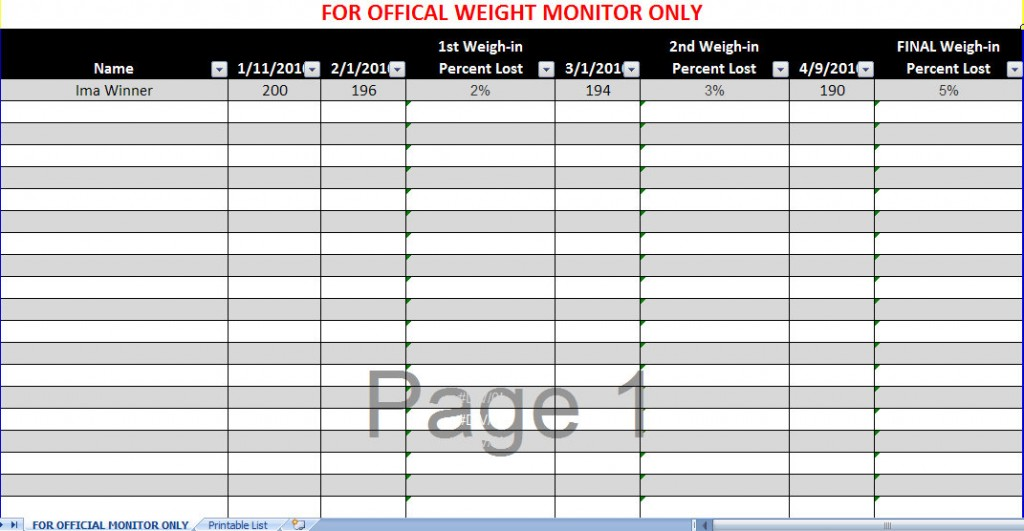 ... To Track Group Weight Loss | Search Results | Weight Loss Discussion