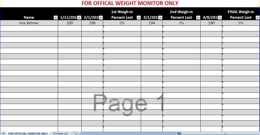 Biggest Loser Spreadsheet | Biggest Loser Excel Spreadsheet