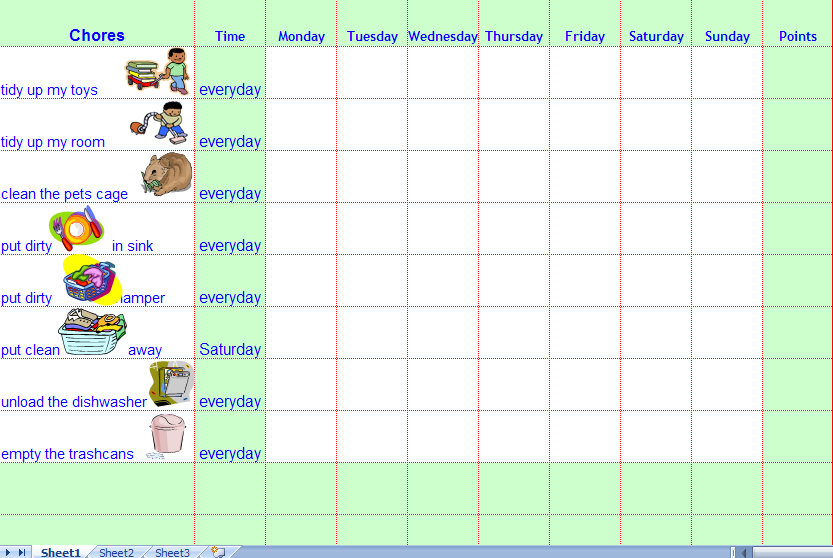 Chore calendar for kids the mumsy blog for Chore chart for adults templates