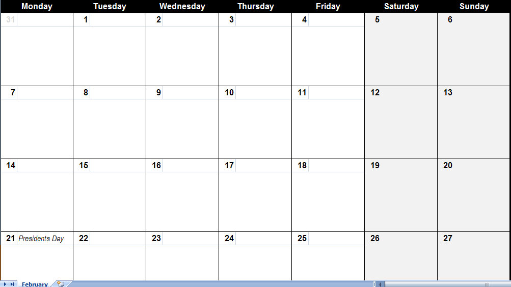 February 2011 Calendar | February 2011 Printable Monthly Calendar