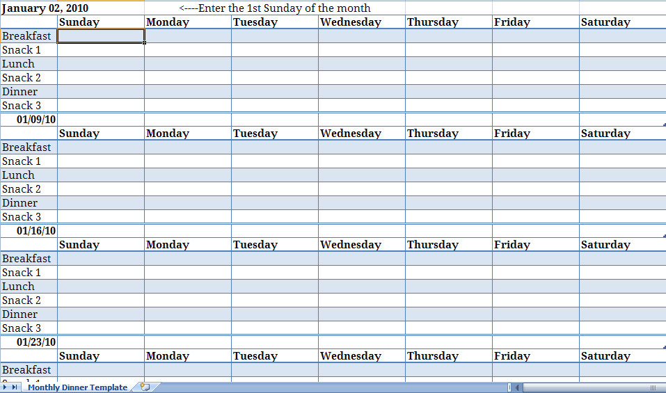 Weekly Meal Planner Archives - My Excel Templates