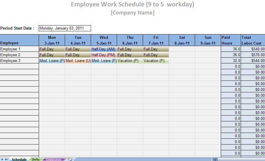 Printable Work Schedule Templates | Printable Work Schedules