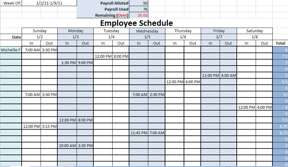 Printable Work Schedule | Printable Work Schedules
