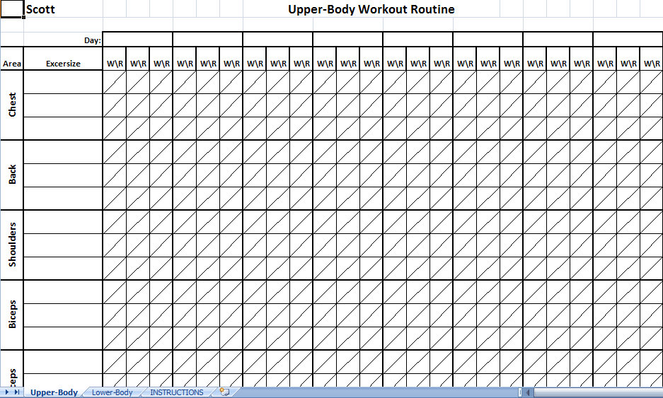 workout tracking spreadsheet excel