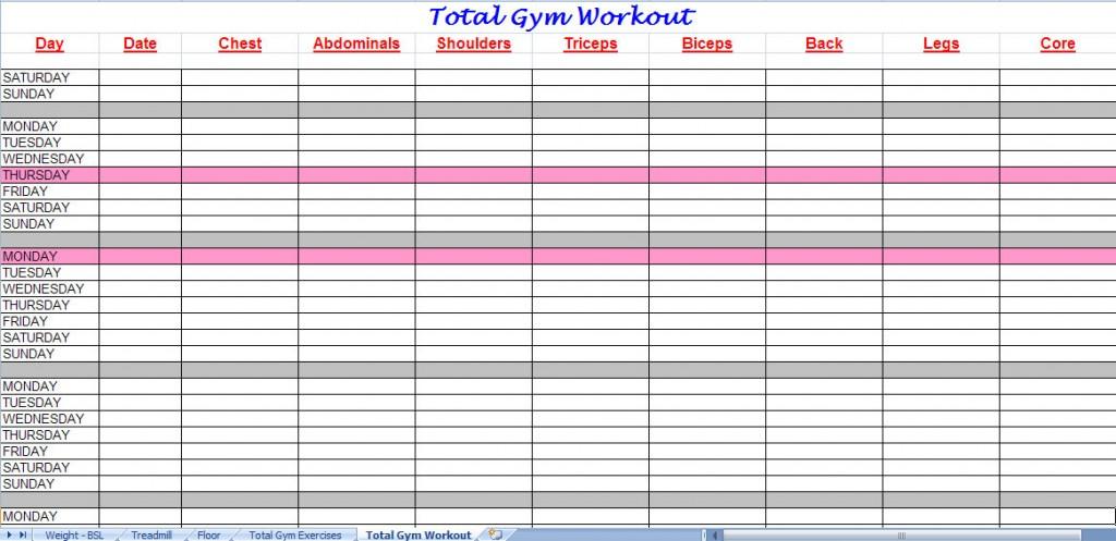 total gym workout plan