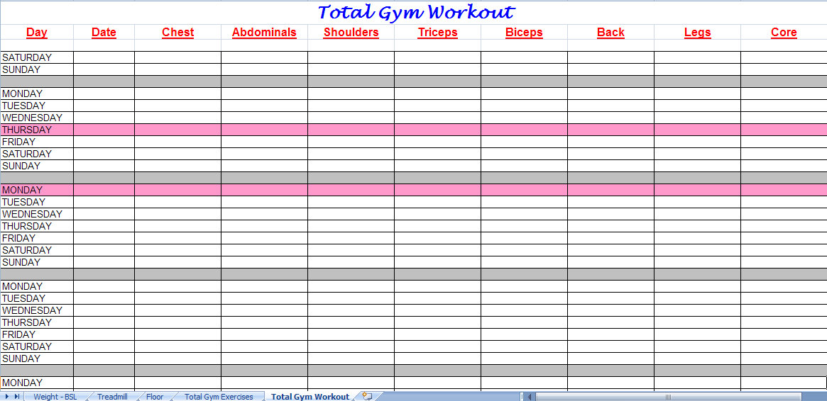 Total Gym Workout Plan Spreadsheet – Workout Worksheet