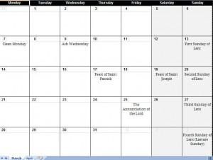 2011 printable lent calendar