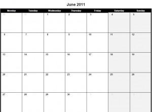 Printable PDF June 2011 Calendar