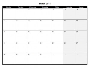Printable PDF March 2011 calendar