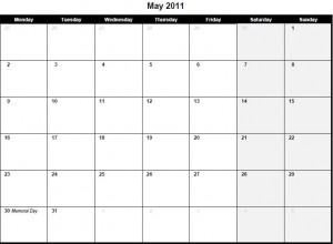Printable PDF May 2011 Calendar