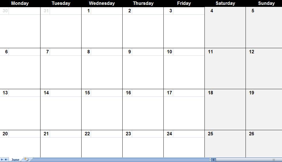 Doc713544 Printable Blank Calendar Blank Calendar Template – Printable Calendar Template