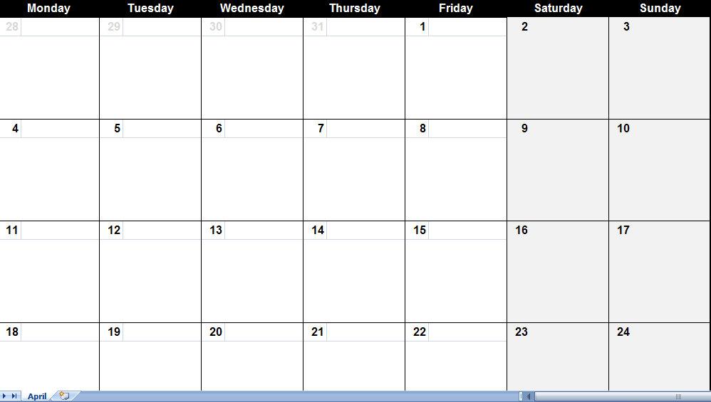 Printable Pdf April 2011 Calendar
