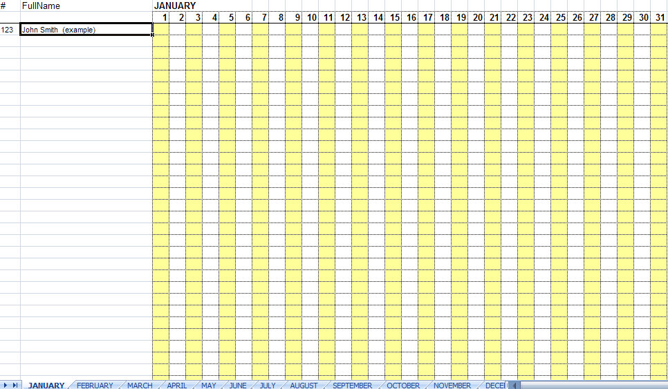 Employee Attendance Sheet Template Excel