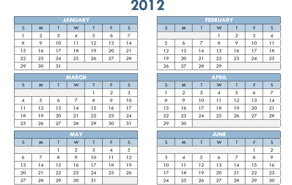 2012 Printable PDF One Page Yearly Calendar Template