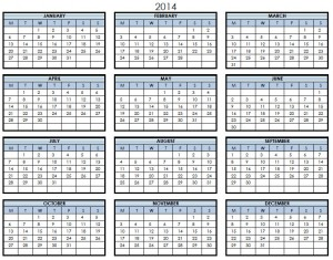 2014 Printable PDF One Page Calendar Yearly
