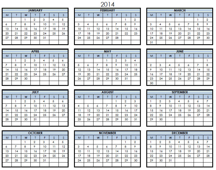 2014 Printable PDF One Page Calendar Yearly | 2014 One Page Calendar