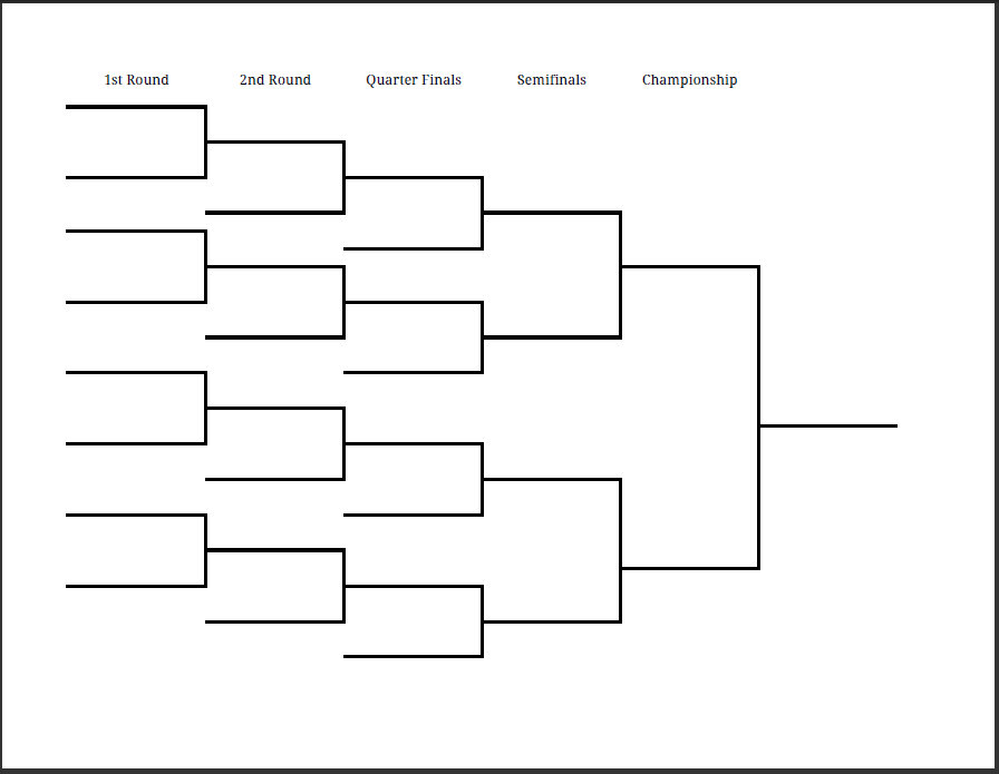 photo about Printable Tournament Bracket named Printable PDF Blank Huge East Match Bracket