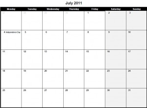 Printable PDF July 2011 Calendar