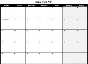 Printable PDF September 2011 Calendar