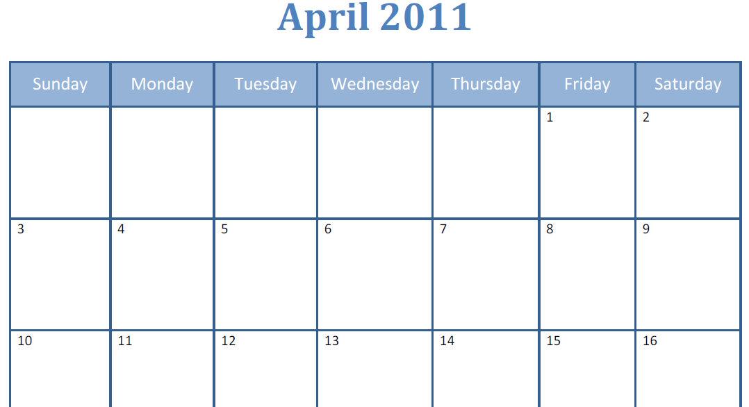 Calendar Template Big Boxes