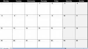 december 2011 Printable Monthly Calendar Template