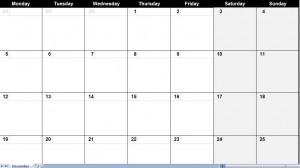 december 2011 Printable Monthly Calendar Template