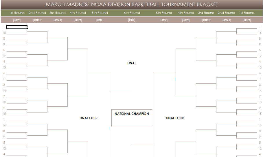 Free printable march madness brackets printable free for Blank march madness bracket template