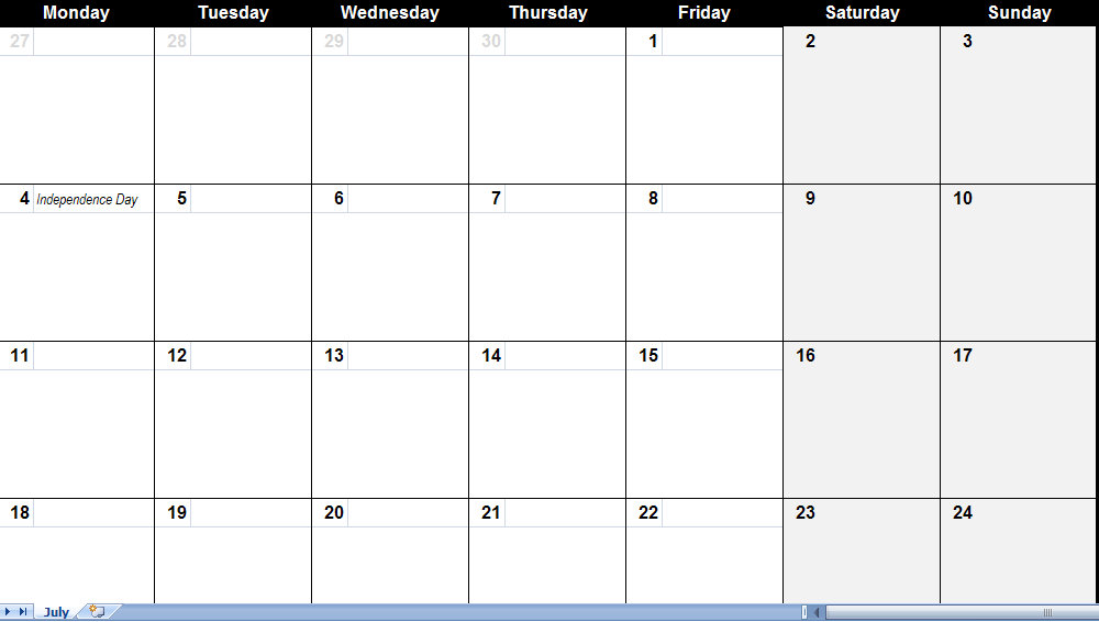 July 2011 Calendar – Free Printable Monthly Calendar