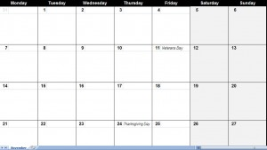 november 2011 Printable Monthly Calendar Template