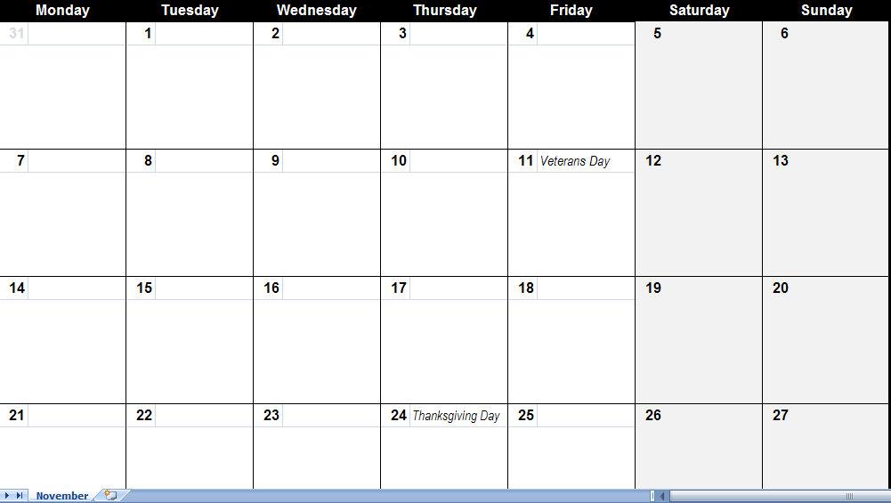 November 2011 Calendar | November 2011 Calendar Printable