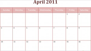 printable april 2011 calendar with holidays