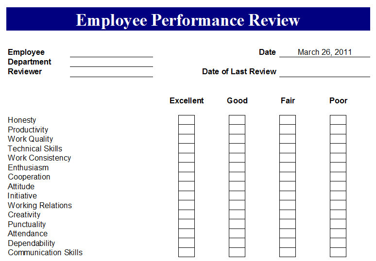 employee evaluation forms – Sample Employee Evaluation Forms