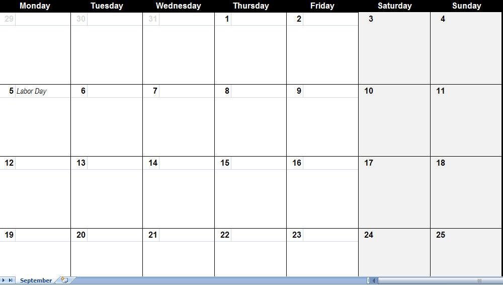 September 2011 Calendar – Blank Monthly Calendar