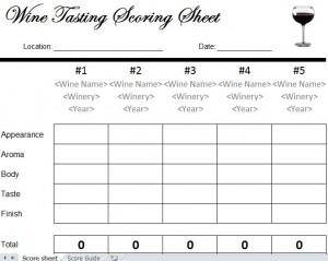 wine tasting scorecard