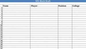 graphic regarding Nfl Draft Sheet Printable called NFL Mock Draft NFL Draft Printable NFL Mock Draft