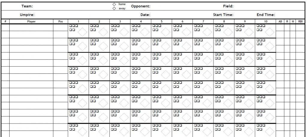 printable PDF Baseball scorecard
