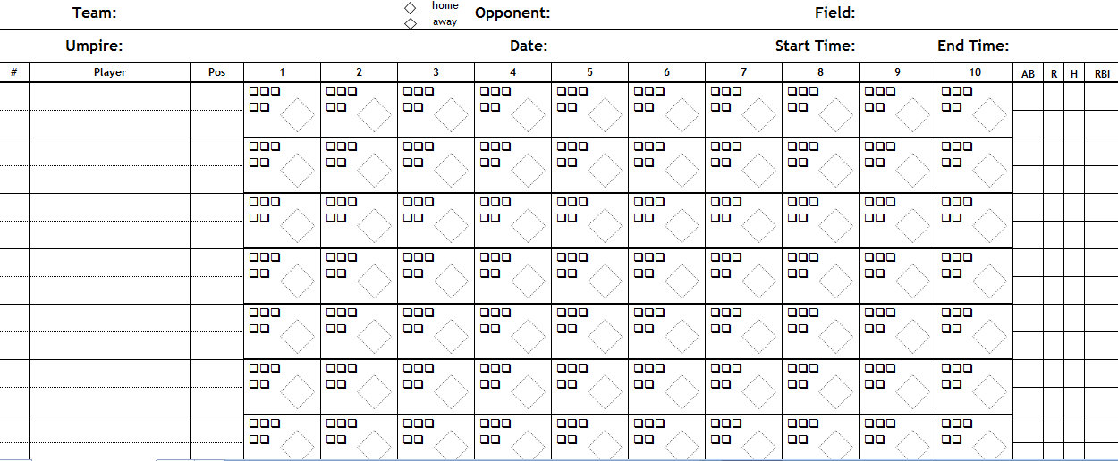 Free Printable Blank Scorecard For Baseball .