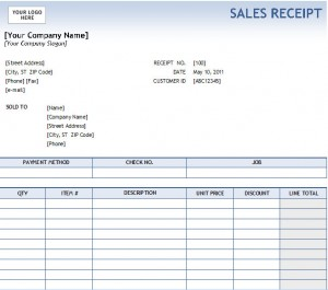 Excel Sales Receipt