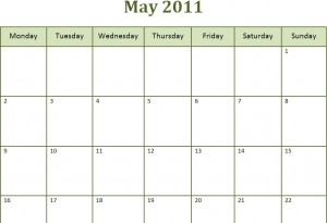 Printable Blank PDF May 2011 Monthly Calendar