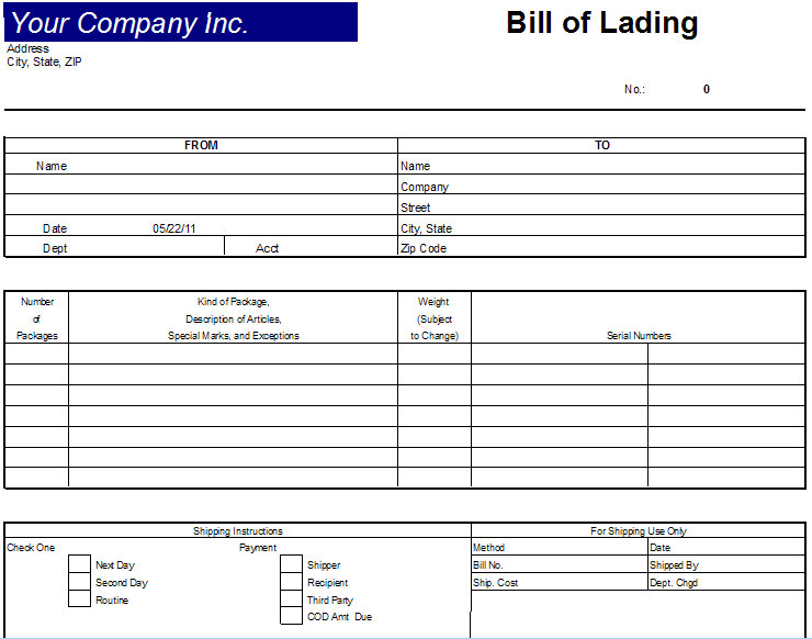 Bill Of Lading Excel  Printable Bill Of Lading Short Form