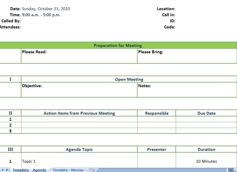 Meeting Agenda Form