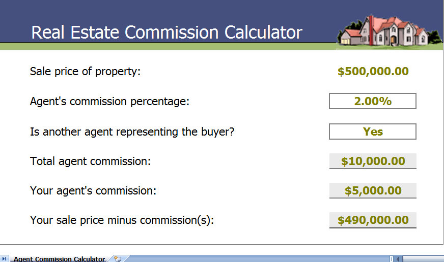 real estate commission calculator template