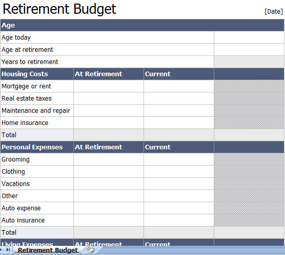 retirement planning excel spreadsheet