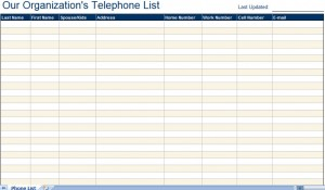 telephone email directory list excel template